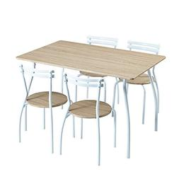 FurnitureR 5 Piece Dining Set Wood Metal Table and Chairs Ho