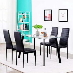 Dining Table Chair Set Glass Metal Kitchen Room High Quality