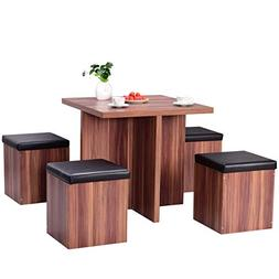 Giantex 5 Pcs Dining Table and Chair Set Wooden Dinette Tabl