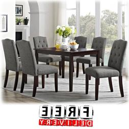 dining table chairs 7 piece wood tufted