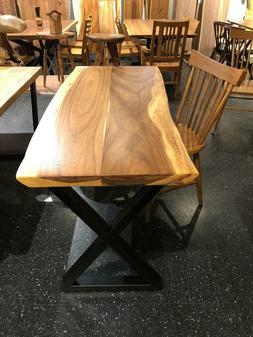 Dining table/desk Natural live edge acacia wood slab with bl