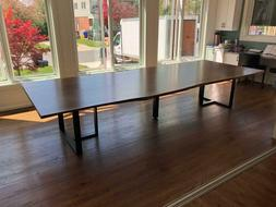 Dining table live edge large solid walnut wood with black me