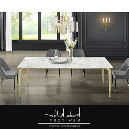 Nicole Miller Dining Table Marble Top Metal Legs For 8 6 For