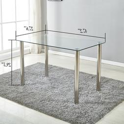 Dining Table Metal & Glass Kitchen Room Breakfast Furniture