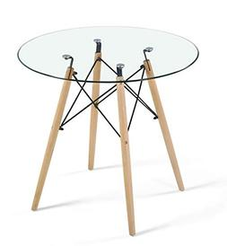 Dining Table Modern Round Glass Clear Table for Kitchen Dini