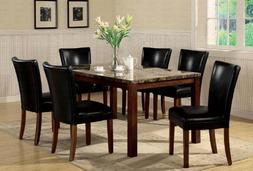 7pc Dining Table & Parson Chairs Set Black Leather Like Rich