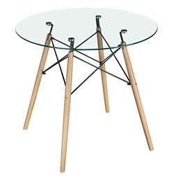 GreenForest Dining Table Modern Round Glass Clear Table for