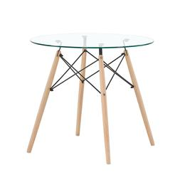 Dining Table Round Glass Clear Table Kitchen Dining Room Cof
