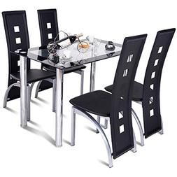 Tangkula Dining Table Set 5 Piece Rectangle Table w/Glass To
