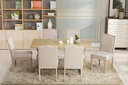 Dara 7 piece dining table set with chairs 6 person seating B