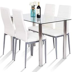 Tangkula 5 PCS Dining Table Set Modern Tempered Glass Top an
