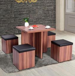 Dining Table Set Kitchen Chair Stool Wood Storage Industrial