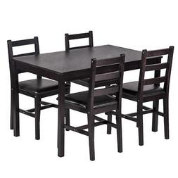5PCS Dining Table Set Pine Wood Kitchen Dinette Table with 4