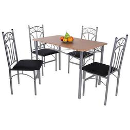 Topbuy Dining Table Set Simple Style 4 Chairs Set for Kitche