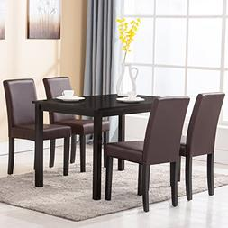 5 Piece Wood Dining Table Set 4 Chairs Kitchen Dinette Room