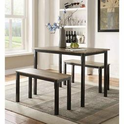 Dining Table Set With Bench Kitchen For 4 Breakfast 3 Piece