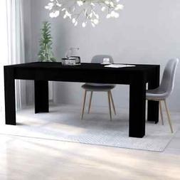 vidaXL Dining Table Sleek Modern Black Chipboard Home Kitche