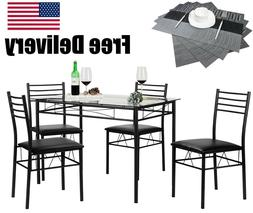 Vecelo Dining Table With 4 Chairs & 4 Placemats Included Bla