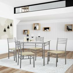 VECELO Dining Table with 4 Chairs - Silver, Kitchen ,Living