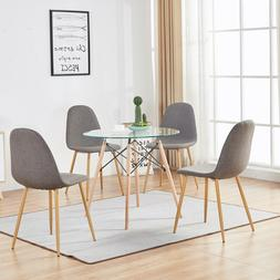 DIY Round Glass Table Dining Table  4 Side Chairs 5 Pieces D