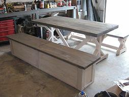"""Dining Table with Farm Rafter Supports and 2.5"""" Stained Tabl"""