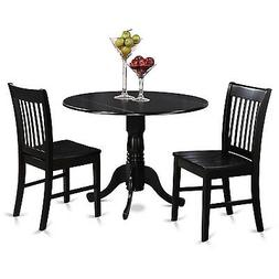 East West Furniture DLNO3-BLK-W 3-Piece Kitchen Table and Ch