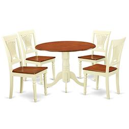 East West Furniture DLPL5-BMK-W 5 Piece Dining Table and 4 C