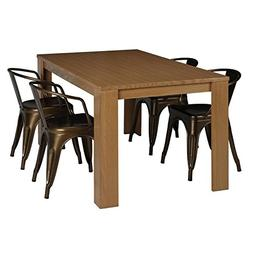 Dorel Living Weston 5 Piece Dining Set in Natural Wheat and