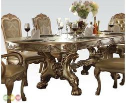 ACME Dresden Gold Patina and Bone Dining Table with Trestle
