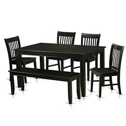 East West Furniture DUNO6-BLK-W 6 Piece Dining Table and 4 C