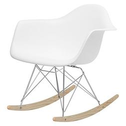 Poly and Bark Eames Style RAR Rocking Chair, White