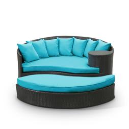 EEI-645-EXP-TRQ Taiji Outdoor Patio Daybed Espresso Turquois