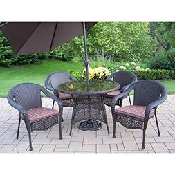Oakland Living Elite All-Weather Wicker Patio Dining Set wit