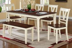 6 pc Erin II collection cream finish wood legs and cherry fi