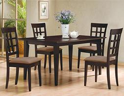 5 PC Espresso Brown 4 Person Table and Chairs Brown Dining D