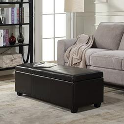 Espresso Faux Leather Storage Ottoman Large Bench Foot Rest