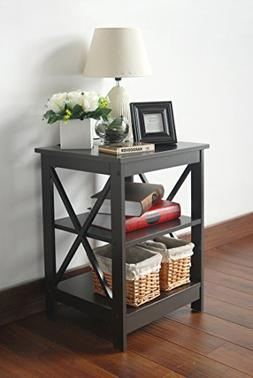 Espresso Finish Wooden X-Design Chair Side End Table with 3-
