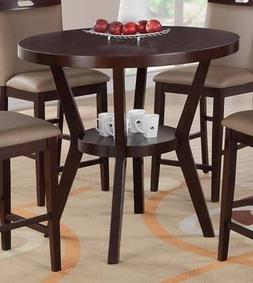 Espresso Solid Wood Round Counter Height Dining Table by Pou