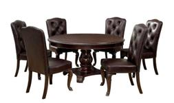 Furniture of America Evangelyn 7-Piece Dining Set with Leath
