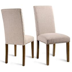 Merax PP036415 Fabric Upholstered Dining Chairs Set of 2 wit