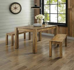 Farmhouse Dining Table Bench Set Rustic Wood Kitchen Tables