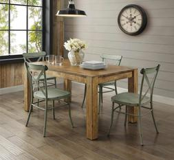 Farmhouse Dining Table Set Rustic Wood Country Kitchen Metal