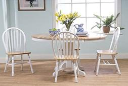Simple Living Farmhouse 5-piece White Natural Dining Room Se