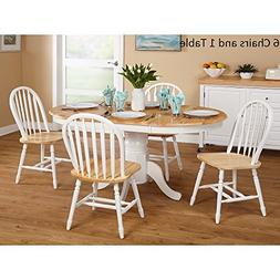 Simple Living Farmhouse 7-piece White/ Natural Dining Set Wo
