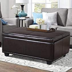 Topeakmart Large Faux Leather Ottoman Storage Coffee Table L