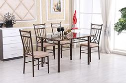 Hodedah 5 Piece Faux Marble Dinning Set, Table with 4 Chairs