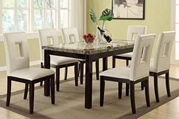 Poundex F2094 & F1052 Faux Marble Top W/ White Leatherette C
