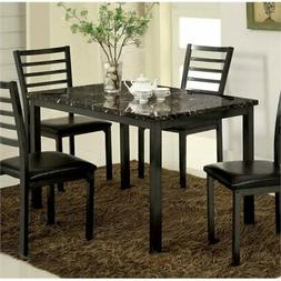 Pemberly Row Faux Marble Top Dining Table in Black