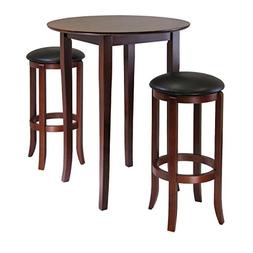 Winsome Fiona 3-Piece Round High Pub Table Set in Antique Wa