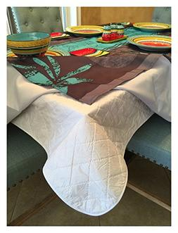 Dining Table Protector Quilted Table Pad Flannel Backing Cov